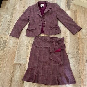 NANETTE LEPORE burgundy plaid skirt blazer set 2